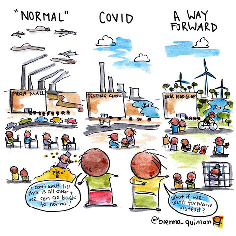 "Cartoon: 2 Kinder blicken auf eine Großstadt. ""What if we went forward instead going back to normal?"""