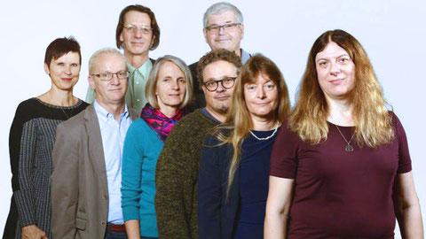 Die unabhängigen AK-KandidatInnen (v.l.n.r.): Ingrid Eckmayer, Johann Semmler-Bruckner, Gunter Bauer, Ursula Niediek, Werner Puntigam, Harald Wesiak, Heidi Schmitt, Sandra Hofmann. Foto: AUGE/UG Steiermark