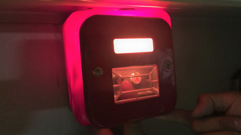 "BOX内にある消火ポンプ""遠隔起動ボタン"""
