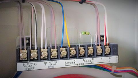 総合盤内の配線の本数 端子台
