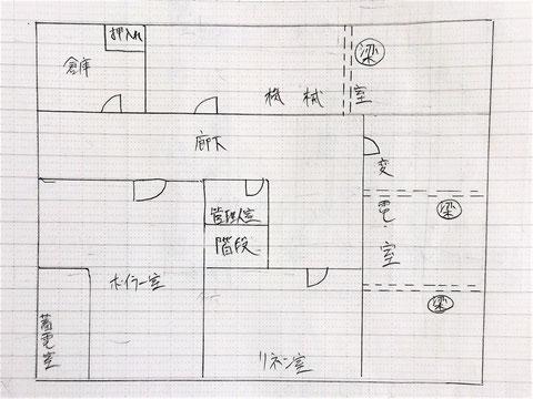 平面図に自火報の配線・機器を記入