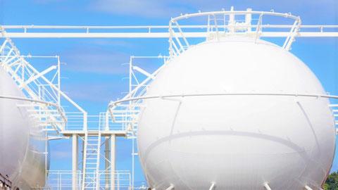 気体のガスが貯蔵されたガスタンク