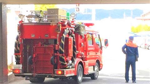 消防検査の際は消防ポンプ車を見かける