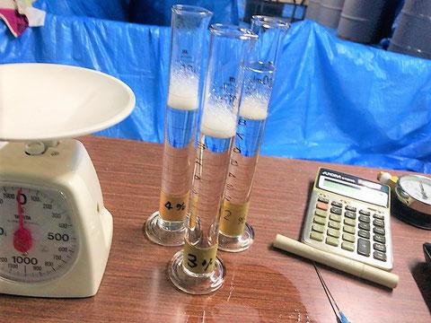 事前に2、3、4%の泡試料水溶液の糖度計値を測定
