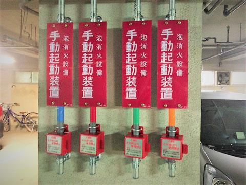 泡消火設備の手動起動装置