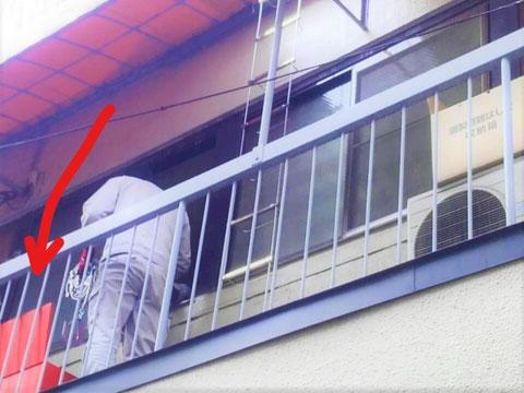 避難はしごで再度降りる