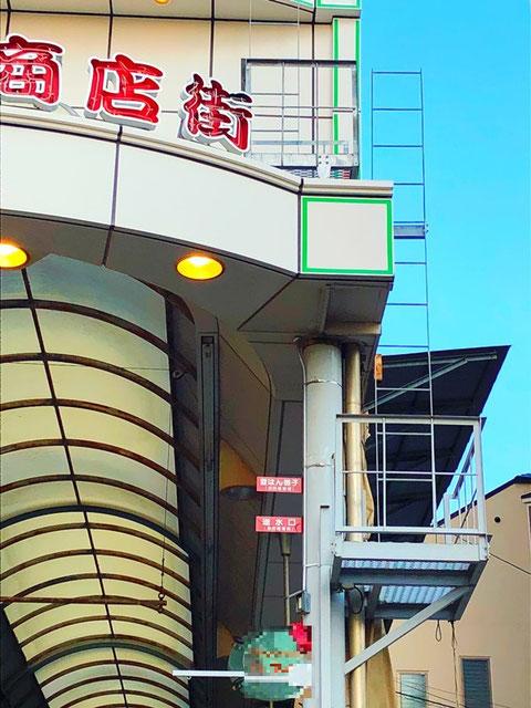 """アーケード上にアクセスする為の""""登はん梯子"""""""