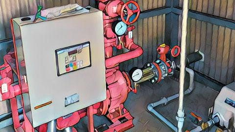 屋外消火栓の消火ポンプと制御盤