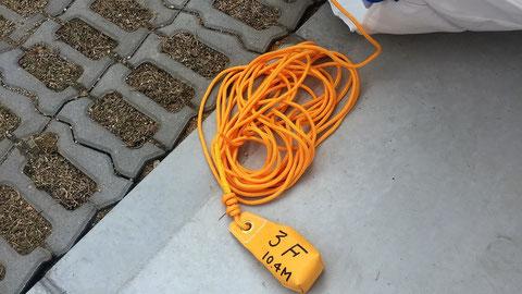 砂袋には回数とロープの長さ
