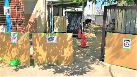 避難所で出たゴミ類の集積所も分かり易く
