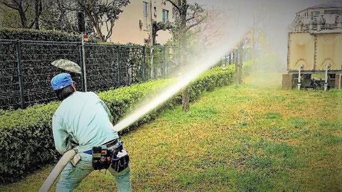 屋外消火栓の放水試験