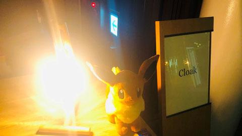 イーブイの奥には消防用設備 ポケモン企業対抗戦