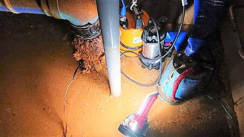 ポンプ4台で消火水槽内の水を全て排水