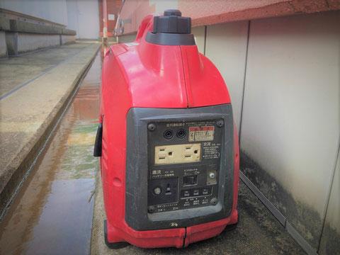 可搬式発電機でファンの電源を確保