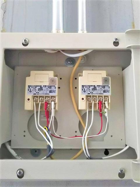 D+及びD-に電線を接続して感知器の敷設完了