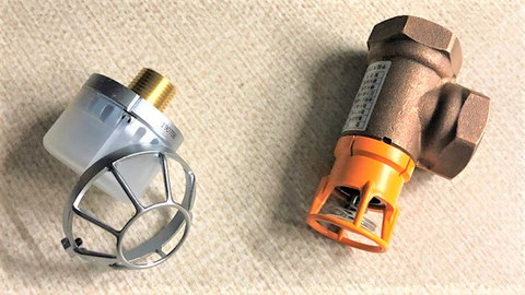 左:開放型ヘッド、右:感熱開放継手 スプリンクラー設備