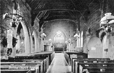 Old postcard of Sheldon Church interior looking east towards the altar - Image courtesy of Mac Joseph (Ladywood Past & Present - http://www.oldladywood.co.uk)
