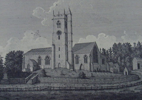 St Mary's Church Handsworth c1798 from Stebbing Shaw 1801 History and Antiquities of Staffordshire