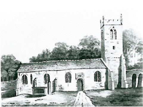 Above: Edgbaston Church in 1810 viewed from the south.