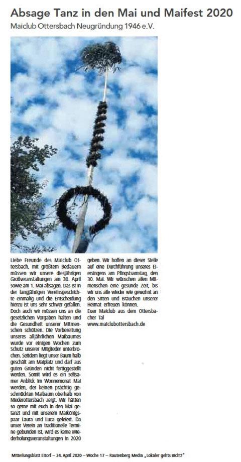 Quelle: Mitteilungsblatt Eitorf 24.04.2020