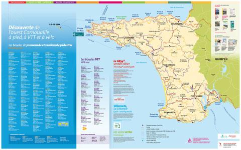 Carte présentant l'offre de Randonnées en ouest Cornouaille - format 120 cm x 75 cm
