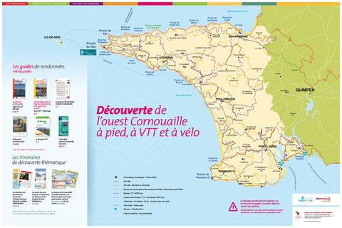 Carte présentant l'offre de randonnées en ouest Cornouaille - format 40 x 60 cm