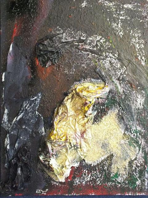 wenn die nacht tanzt im gebirge singen die drachen mit magie, Acryl und Materialmix auf Leinwand, April 2012, 60 x 80 cm, € 470,00