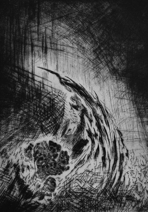 Erwogen • 2019 • Kaltnadelradierung • Engraving print on paper • 54 x 40 cm