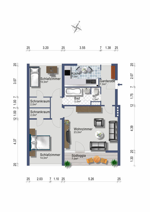 3 Zimmer auf 78 m2