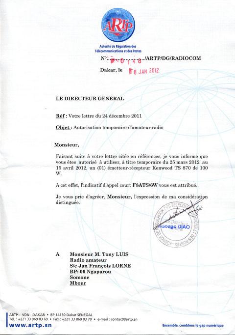 licence du 25/03 au 15/04 2012