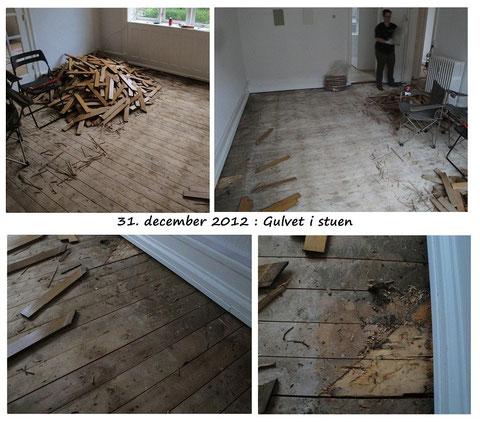 Première surprise : pas de plancher massif sous le sur plancher abimé... oups ! Une surchage de travaux non prévue...