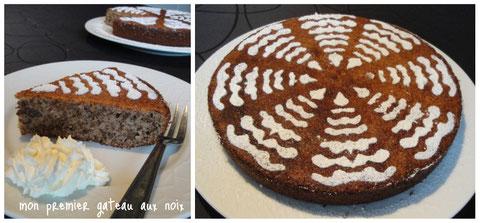 """Le gâteau moelleux aux noix façon """"du Périgord"""" et son décor en sucre glace"""