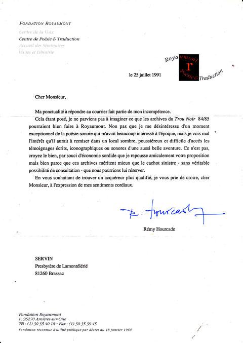 Lettre de la Fondation Royaumont  à SERVIN