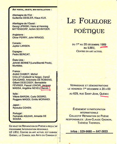 Document d'invitation expox le Folklore Poétique