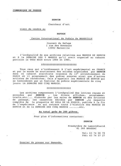 Communiqué de presse annonçant l'achat des archives