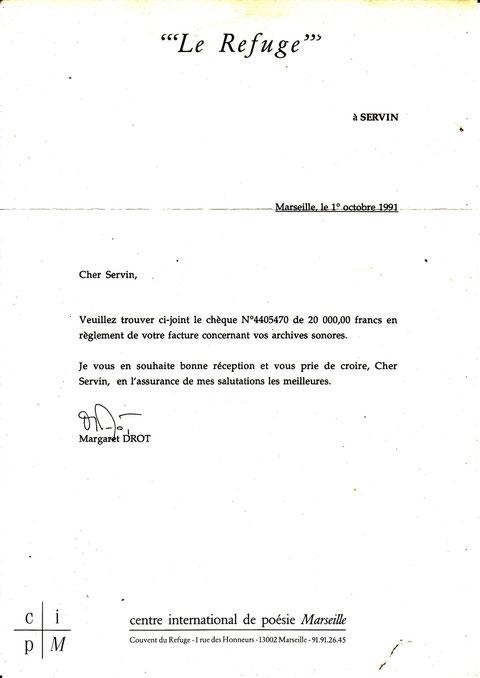 """Lettre d'achat des archives par """"LE REFUGE"""""""