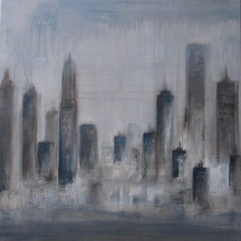 City in grey - acrylique sur toile - 60 x 60 - 2012