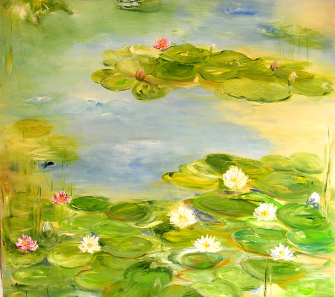 """Bali's Blütenwelt""     100B x 100H cm  Ölbild/Leinwand"