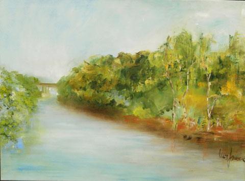 """""""Tage am Fluß"""",   Ölbild  60 x 80 cm"""