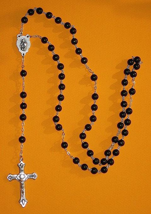 Black Beaded Cross Rosary