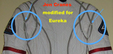 Jen suit modified for Eureka. It is now returned to original condition with Defying Gravity patches