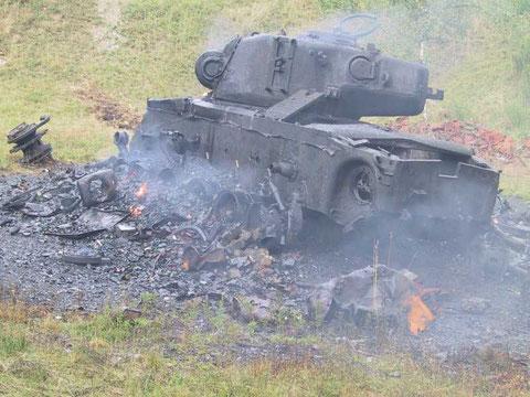 Der Panzer nach dem 'Angriff'