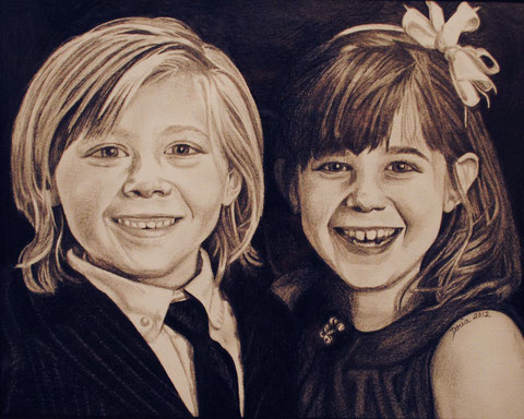 The Trischler Siblings, graphite, May 2012