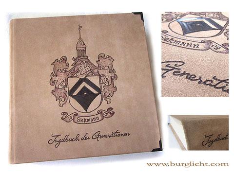 Lederalbum Fotoalbum Ledereinband Hardcover Familienchronik Lederbranding Wappen Jagdbuch Familienwappen
