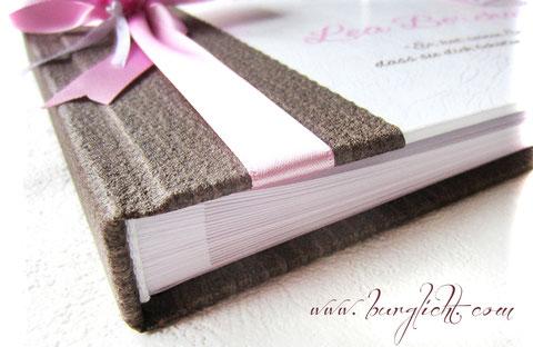 Beispiel Fotogästebuch-Buchblock, Buchblock mit Stegen