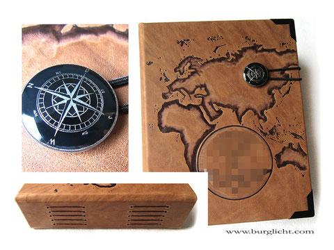 Reisetagebuch, Hardcover, Leder nussbraun, Langstichheftung, Gummibandbuchverschluss mit Kompass-Knopf, individuelle Brandmalerei Kontinente Logo