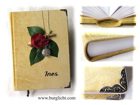 Ledertagebuch A5 Hardcover, 360 Seiten weiß, Bucheinbandgestaltung: Holz Blätter Rose Amulett Name Buchecken, Leder: natur-beige-gelblich samtig