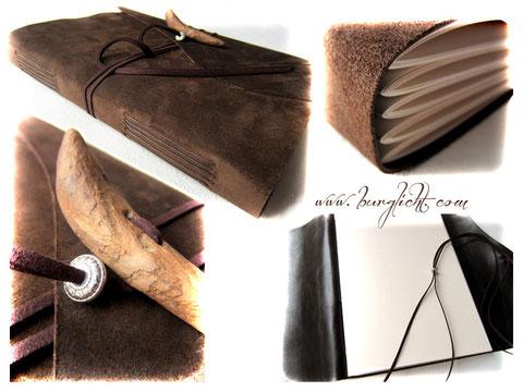 Fotoalbum Softcover Echtleder braun mit umlaufendem Lederband und Verschluss aus Treibholz, A4 Hochformat, 80 Seiten elfenbeinfarben