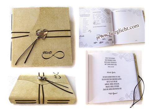 Lederbuch, Hochzeitgästebuch, Leder hellbeige, Hardcover, individuell bedruckte Innenseiten, Gästefragen, Herzanhänger silberfarben, Lederband dunkelbraun, Infinity-Symbol mit Inintialen
