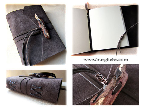 Ledertagebuch, A5 Format, Softcover, Leder dunkelbraun, raue Lederseite außen, umlaufender Buchverschluss mit Holzknopf natur